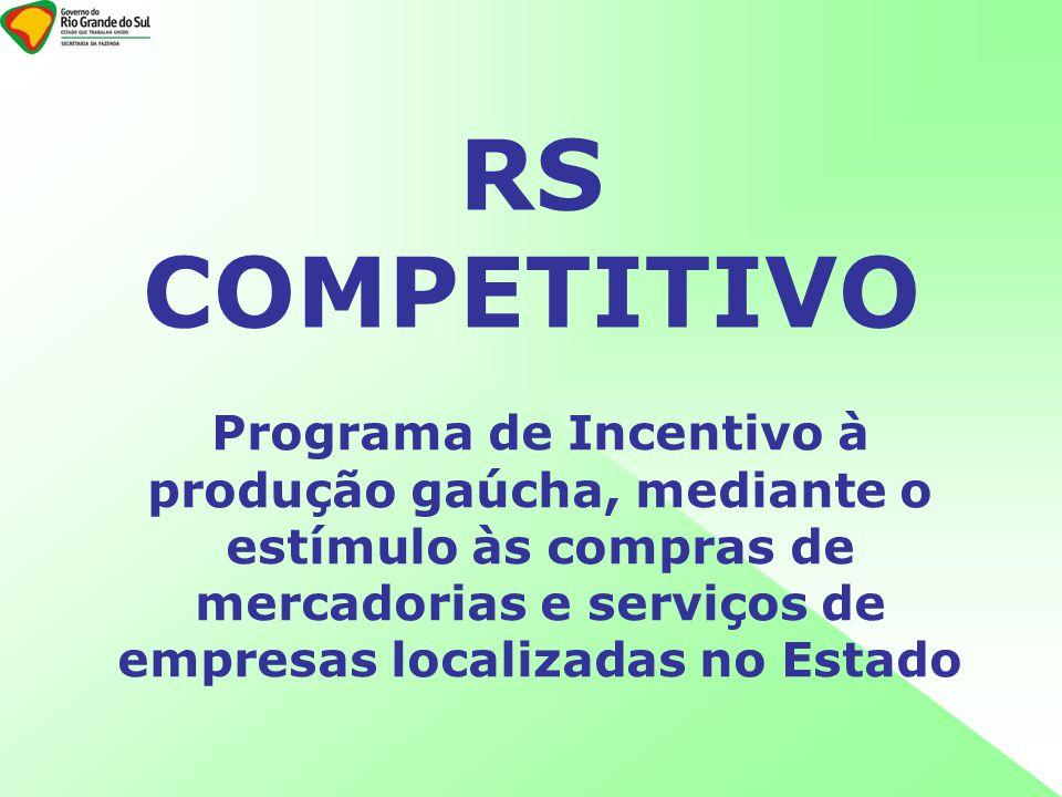 RS COMPETITIVO Programa de Incentivo à produção gaúcha, mediante o estímulo às compras de mercadorias e serviços de empresas localizadas no Estado