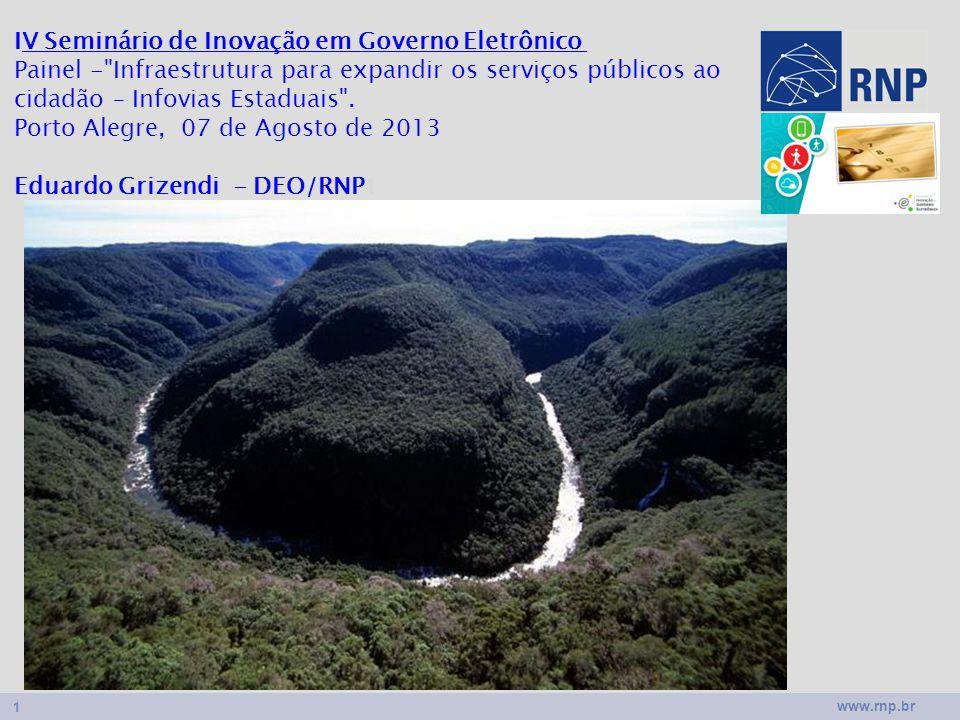 www.rnp.br 1 IV Seminário de Inovação em Governo Eletrônico Painel - Infraestrutura para expandir os serviços públicos ao cidadão – Infovias Estaduais .