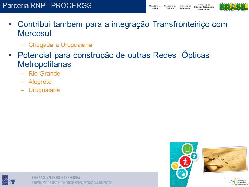 1 Parceria RNP - PROCERGS Contribui também para a integração Transfronteiriço com Mercosul – Chegada a Uruguaiana Potencial para construção de outras Redes Ópticas Metropolitanas – Rio Grande – Alegrete – Uruguaiana