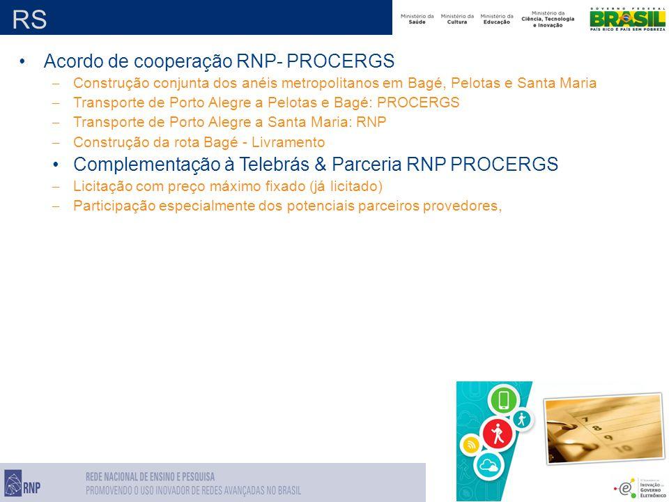 RS Acordo de cooperação RNP- PROCERGS – Construção conjunta dos anéis metropolitanos em Bagé, Pelotas e Santa Maria – Transporte de Porto Alegre a Pelotas e Bagé: PROCERGS – Transporte de Porto Alegre a Santa Maria: RNP – Construção da rota Bagé - Livramento Complementação à Telebrás & Parceria RNP PROCERGS – Licitação com preço máximo fixado (já licitado) – Participação especialmente dos potenciais parceiros provedores,