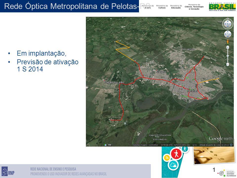 1 Rede Óptica Metropolitana de Pelotas-RS Em implantação, Previsão de ativação 1 S 2014