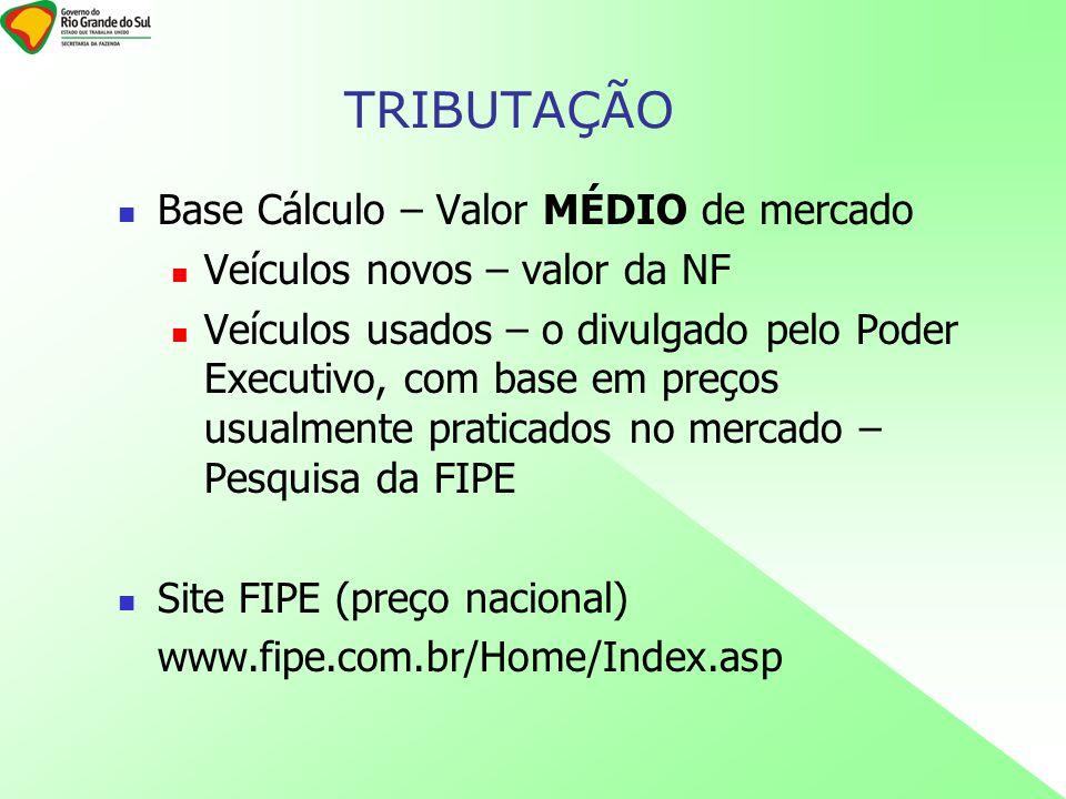 Base Cálculo – Valor MÉDIO de mercado Veículos novos – valor da NF Veículos usados – o divulgado pelo Poder Executivo, com base em preços usualmente p