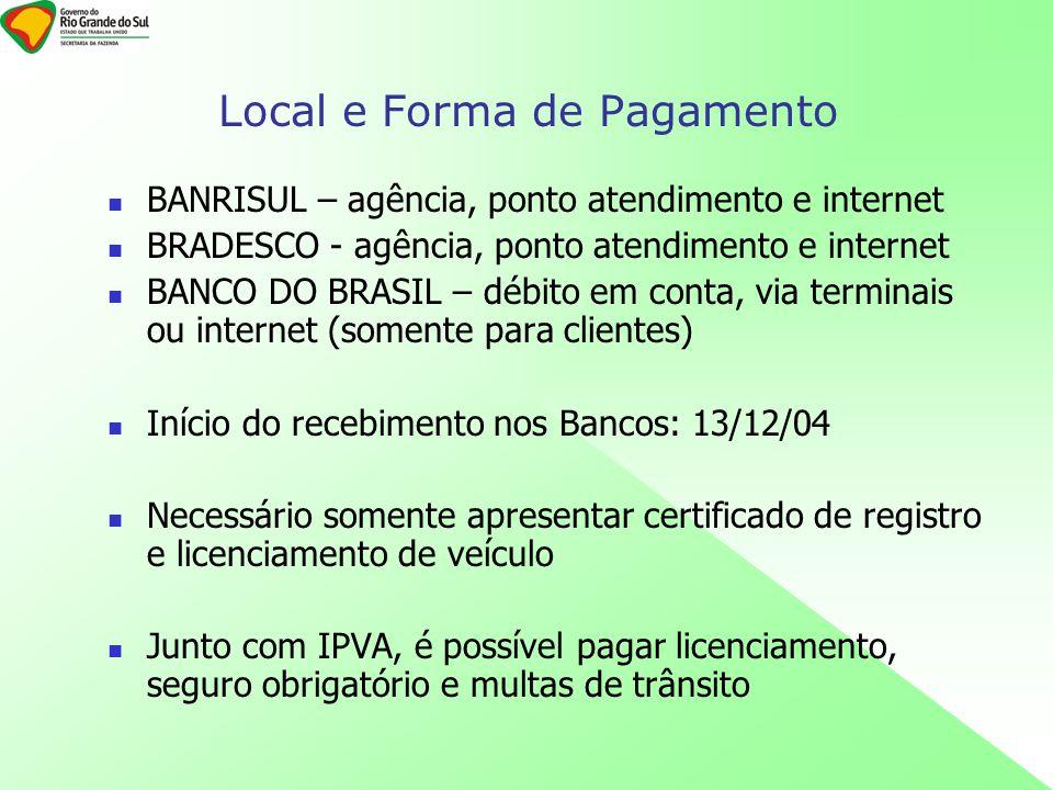 BANRISUL – agência, ponto atendimento e internet BRADESCO - agência, ponto atendimento e internet BANCO DO BRASIL – débito em conta, via terminais ou