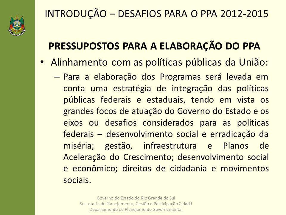 PRESSUPOSTOS PARA A ELABORAÇÃO DO PPA Regionalização: – A regionalização do PPA deverá traduzir a estratégia territorial para o desenvolvimento do Rio Grande do Sul.