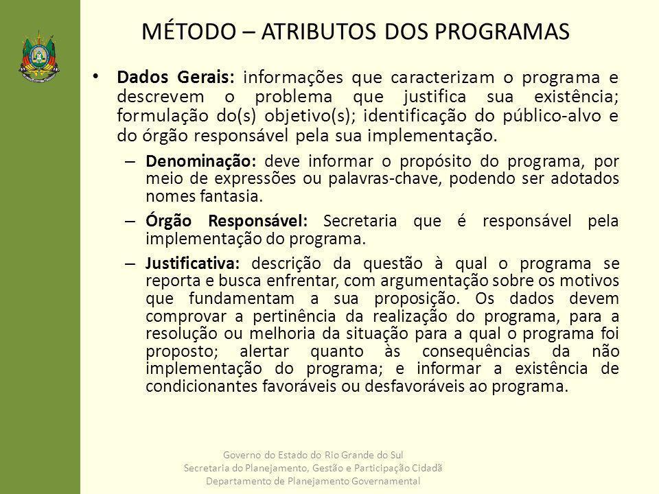 – Objetivo: resultado(s) que se deseja alcançar com a realização do programa.