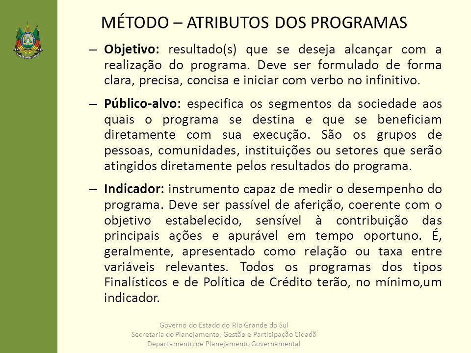 – Ações: conjunto de operações que contribuem para o alcance dos objetivos do programa.