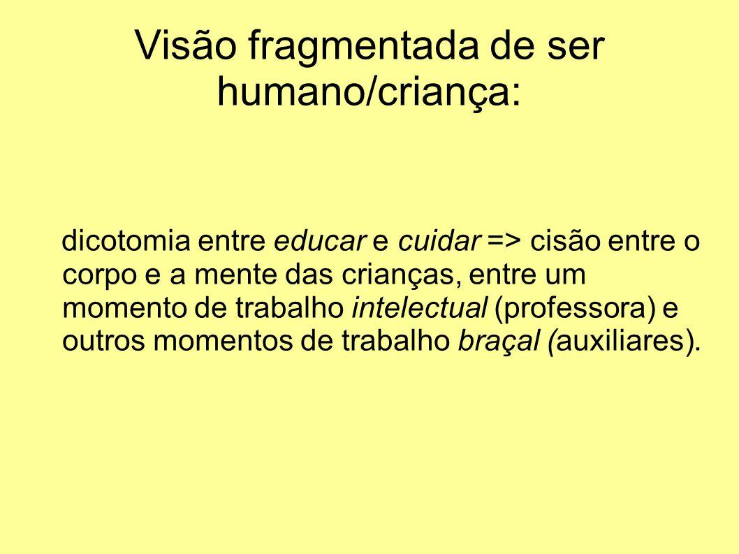 Visão fragmentada de ser humano/criança: dicotomia entre educar e cuidar => cisão entre o corpo e a mente das crianças, entre um momento de trabalho intelectual (professora) e outros momentos de trabalho braçal (auxiliares).