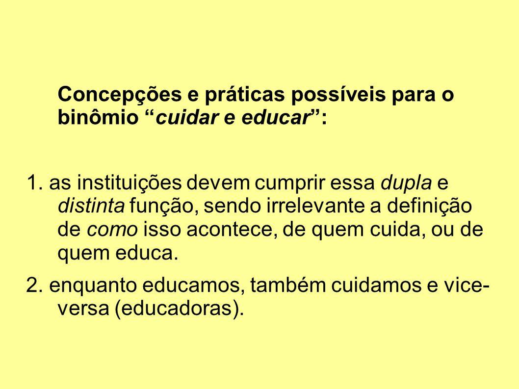 Concepções e práticas possíveis para o binômio cuidar e educar: 1.