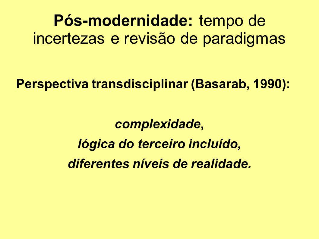 Pós-modernidade: tempo de incertezas e revisão de paradigmas Perspectiva transdisciplinar (Basarab, 1990): complexidade, lógica do terceiro incluído, diferentes níveis de realidade.