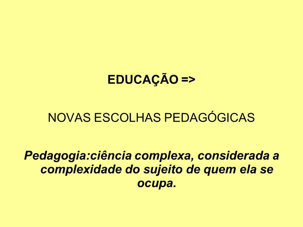 EDUCAÇÃO => NOVAS ESCOLHAS PEDAGÓGICAS Pedagogia:ciência complexa, considerada a complexidade do sujeito de quem ela se ocupa.