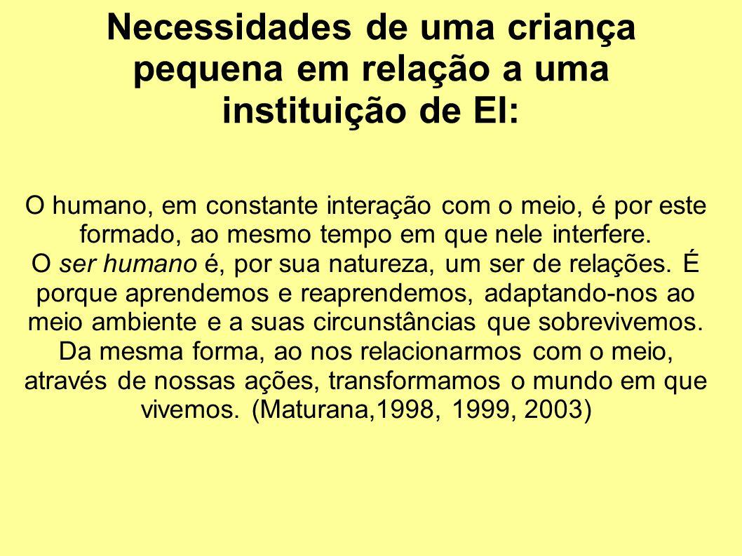 Necessidades de uma criança pequena em relação a uma instituição de EI: O humano, em constante interação com o meio, é por este formado, ao mesmo tempo em que nele interfere.