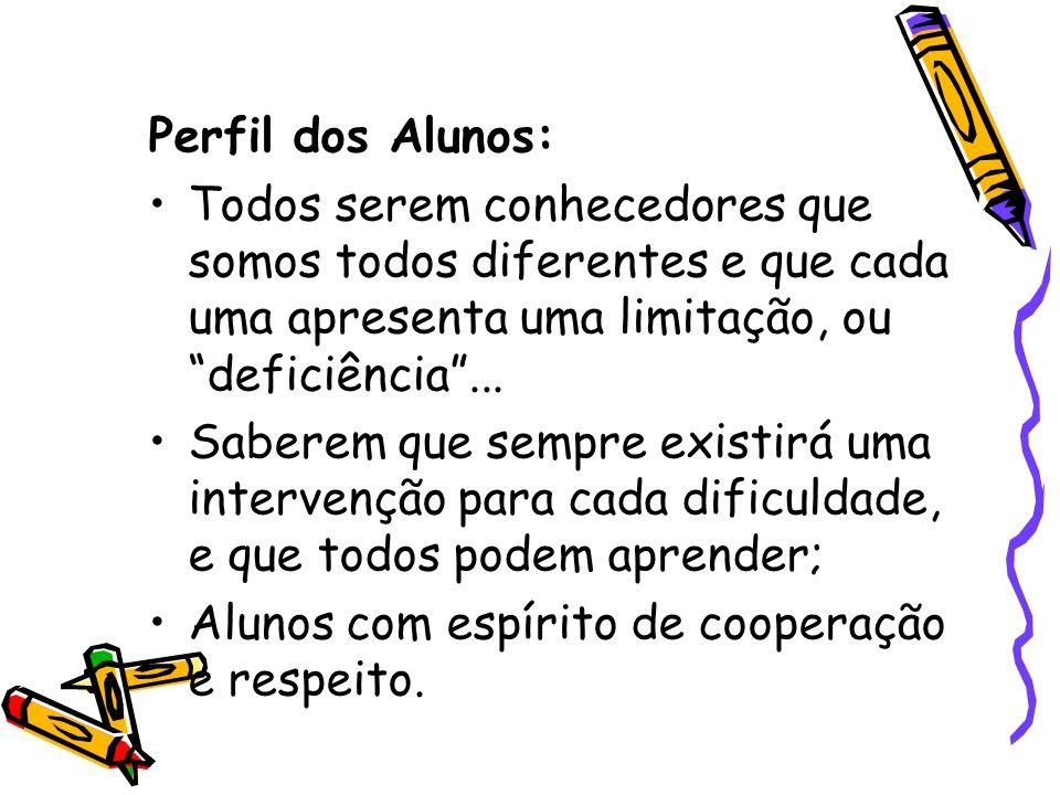 Perfil dos Alunos: Todos serem conhecedores que somos todos diferentes e que cada uma apresenta uma limitação, ou deficiência...
