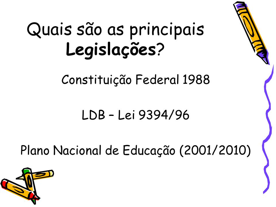 Quais são as principais Legislações? Constituição Federal 1988 LDB – Lei 9394/96 Plano Nacional de Educação (2001/2010)