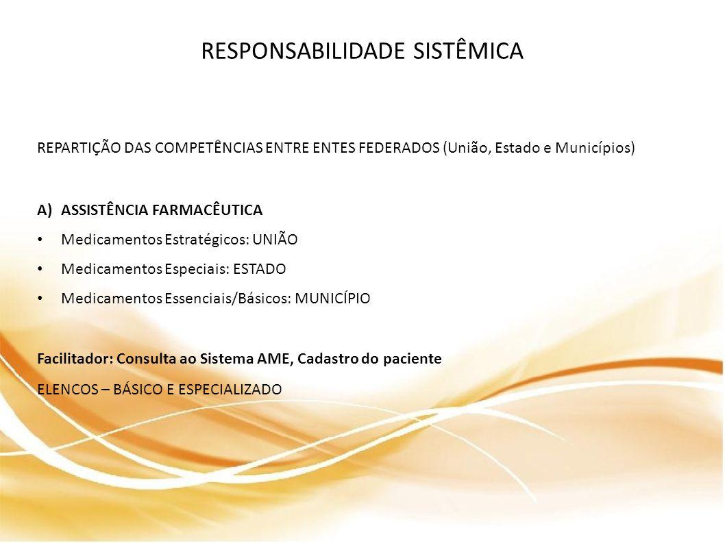 RESPONSABILIDADE SISTÊMICA REPARTIÇÃO DAS COMPETÊNCIAS ENTRE ENTES FEDERADOS (União, Estado e Municípios) A)ASSISTÊNCIA FARMACÊUTICA Medicamentos Estratégicos: UNIÃO Medicamentos Especiais: ESTADO Medicamentos Essenciais/Básicos: MUNICÍPIO Facilitador: Consulta ao Sistema AME, Cadastro do paciente ELENCOS – BÁSICO E ESPECIALIZADO