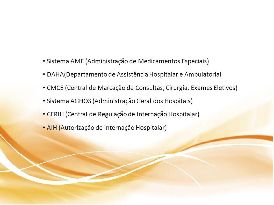 Sistema AME (Administração de Medicamentos Especiais) DAHA(Departamento de Assistência Hospitalar e Ambulatorial CMCE (Central de Marcação de Consultas, Cirurgia, Exames Eletivos) Sistema AGHOS (Administração Geral dos Hospitais) CERIH (Central de Regulação de Internação Hospitalar) AIH (Autorização de Internação Hospitalar)