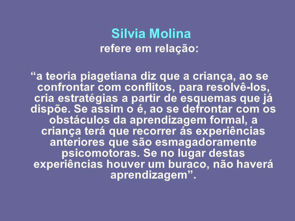 Silvia Molina refere em relação: a teoria piagetiana diz que a criança, ao se confrontar com conflitos, para resolvê-los, cria estratégias a partir de