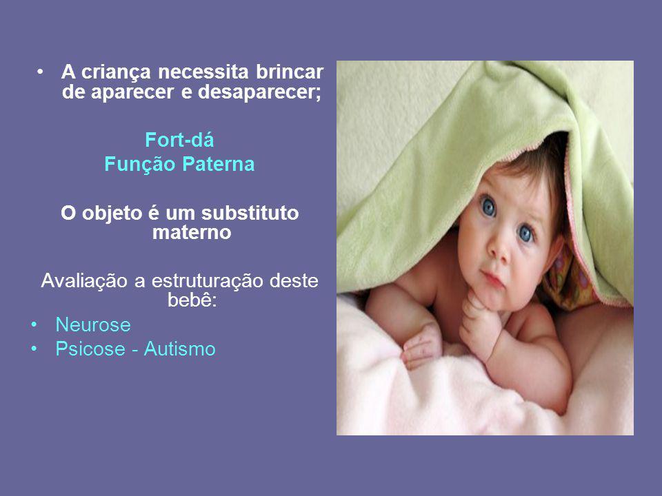 A criança necessita brincar de aparecer e desaparecer; Fort-dá Função Paterna O objeto é um substituto materno Avaliação a estruturação deste bebê: Ne