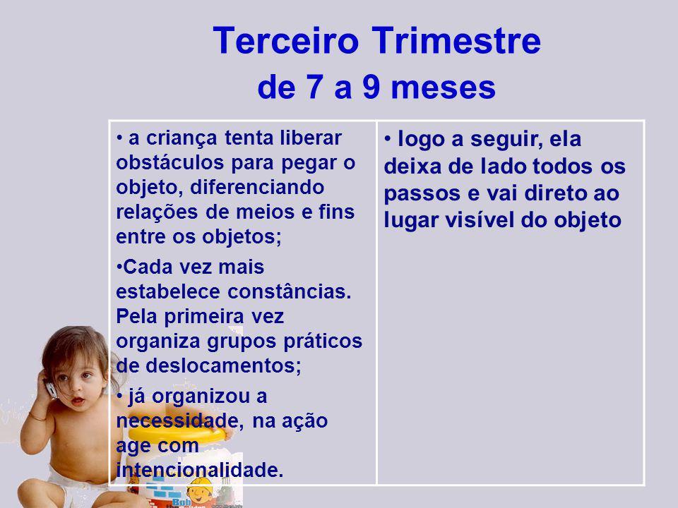 Terceiro Trimestre de 7 a 9 meses a criança tenta liberar obstáculos para pegar o objeto, diferenciando relações de meios e fins entre os objetos; Cad