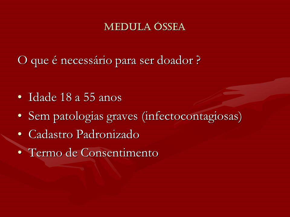 Medula Óssea O que é necessário para ser doador ? Idade 18 a 55 anosIdade 18 a 55 anos Sem patologias graves (infectocontagiosas)Sem patologias graves