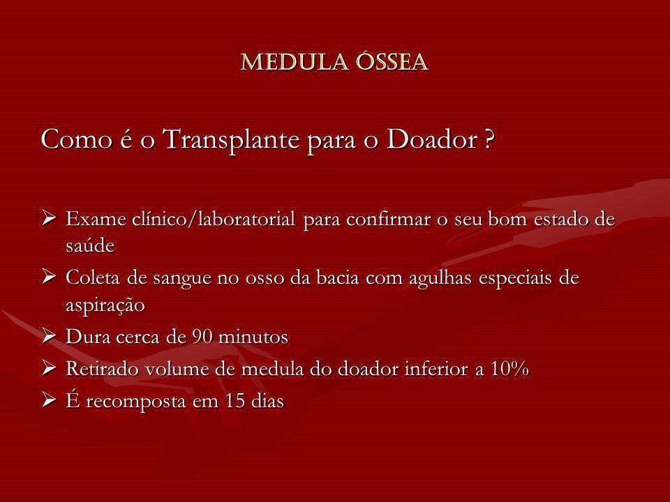 Medula Óssea Como é o Transplante para o Doador ? Exame clínico/laboratorial para confirmar o seu bom estado de saúde Exame clínico/laboratorial para