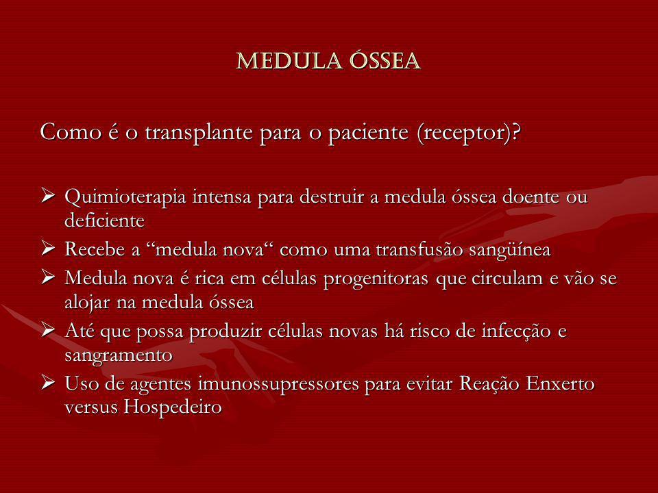 Medula Óssea Como é o transplante para o paciente (receptor)? Quimioterapia intensa para destruir a medula óssea doente ou deficiente Quimioterapia in