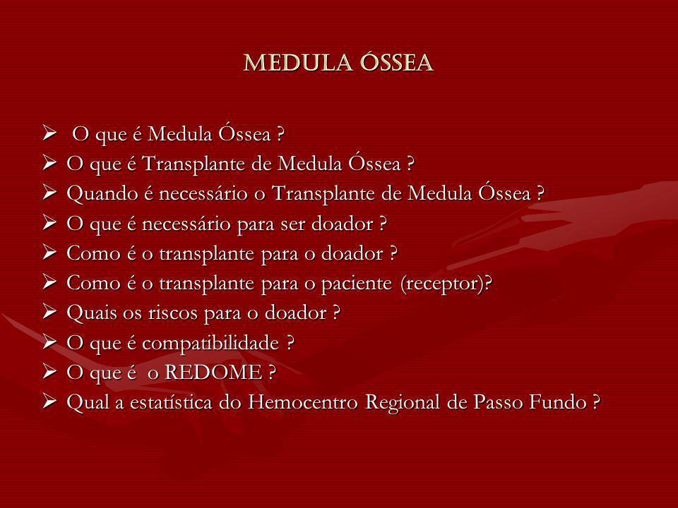 Medula Óssea O que é Medula Óssea ? O que é Medula Óssea ? O que é Transplante de Medula Óssea ? O que é Transplante de Medula Óssea ? Quando é necess