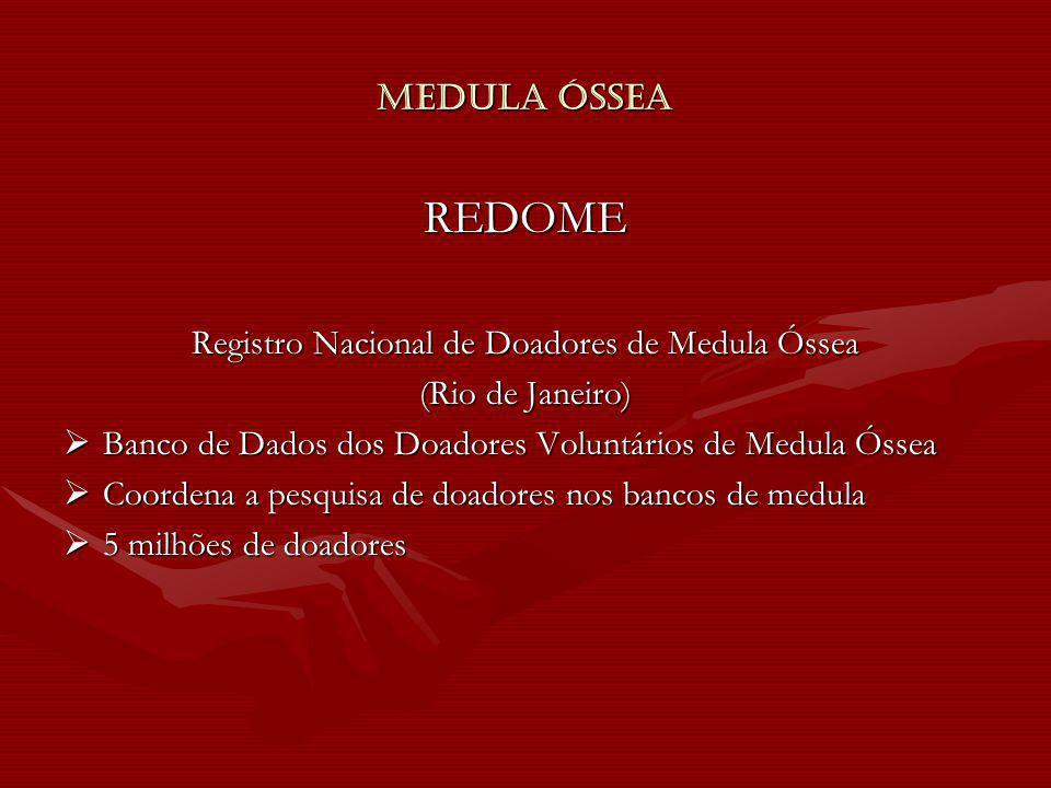 Medula Óssea REDOME Registro Nacional de Doadores de Medula Óssea (Rio de Janeiro) Banco de Dados dos Doadores Voluntários de Medula Óssea Banco de Da
