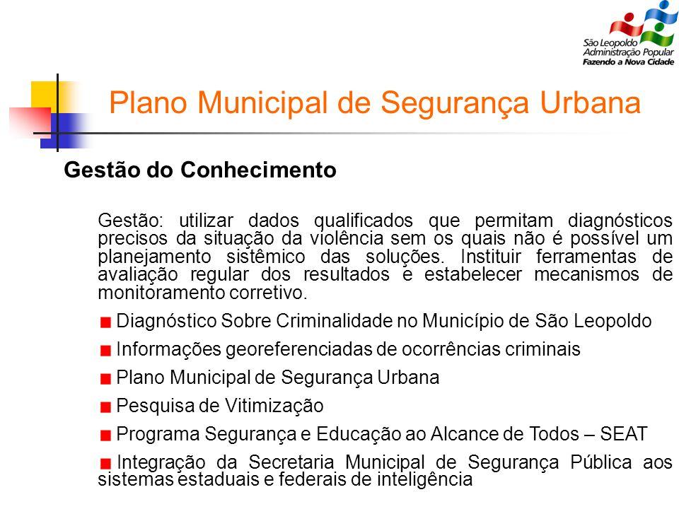 Plano Municipal de Segurança Urbana Gestão do Conhecimento Gestão: utilizar dados qualificados que permitam diagnósticos precisos da situação da violência sem os quais não é possível um planejamento sistêmico das soluções.