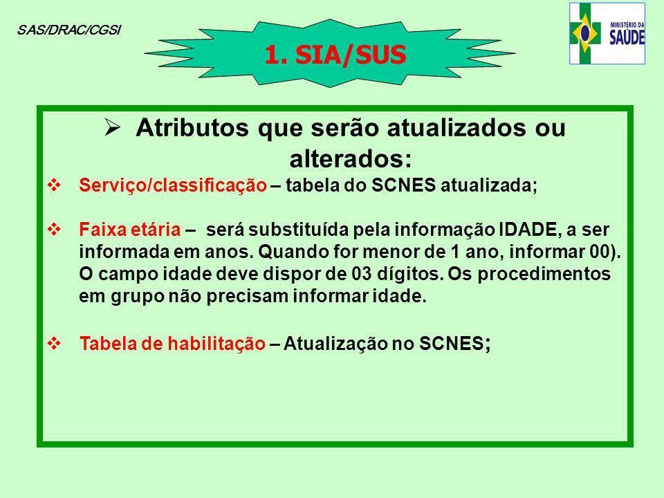 SAS/DRAC/CGSI Atributos que serão atualizados ou alterados: Serviço/classificação – tabela do SCNES atualizada; Faixa etária – será substituída pela i