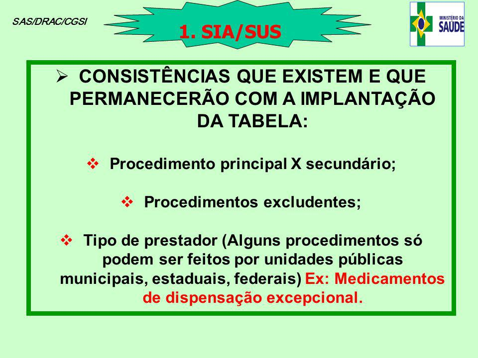 SAS/DRAC/CGSI CONSISTÊNCIAS QUE EXISTEM E QUE PERMANECERÃO COM A IMPLANTAÇÃO DA TABELA: Procedimento principal X secundário; Procedimentos excludentes