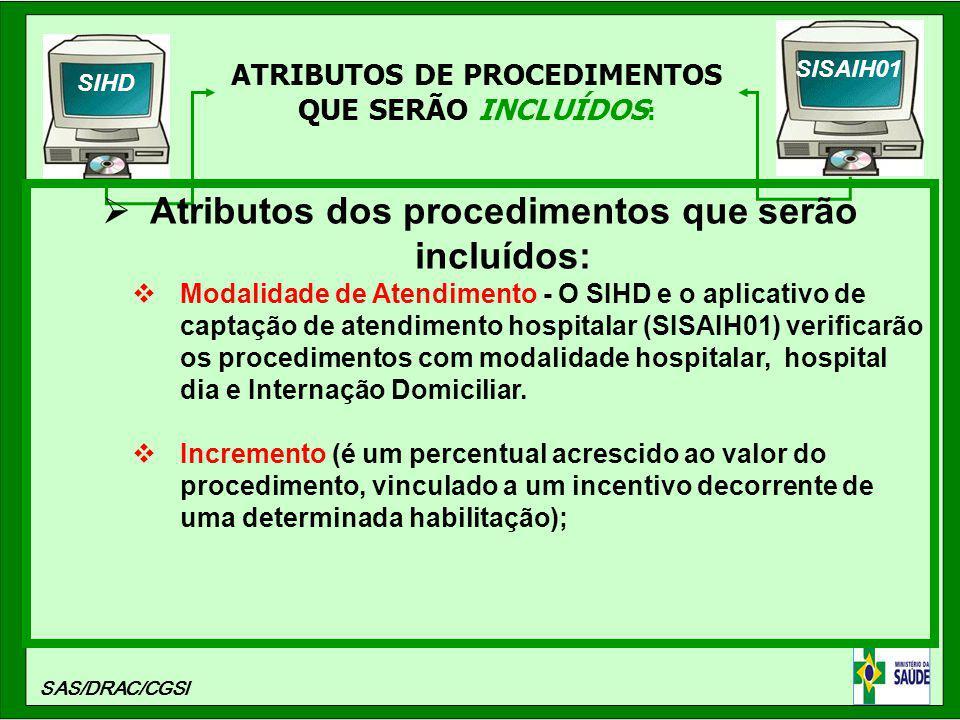ATRIBUTOS DE PROCEDIMENTOS QUE SERÃO INCLUÍDOS : SIHD SISAIH01 SAS/DRAC/CGSI Atributos dos procedimentos que serão incluídos: Modalidade de Atendiment