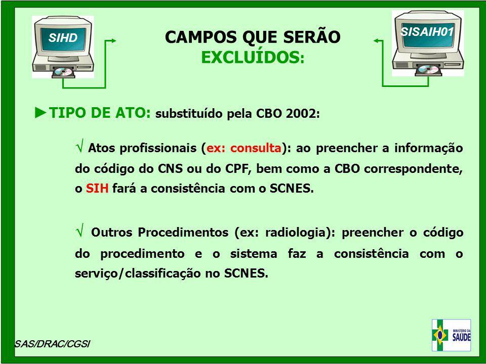 CAMPOS QUE SERÃO EXCLUÍDOS : SAS/DRAC/CGSI Atos profissionais (ex: consulta): ao preencher a informação do código do CNS ou do CPF, bem como a CBO cor