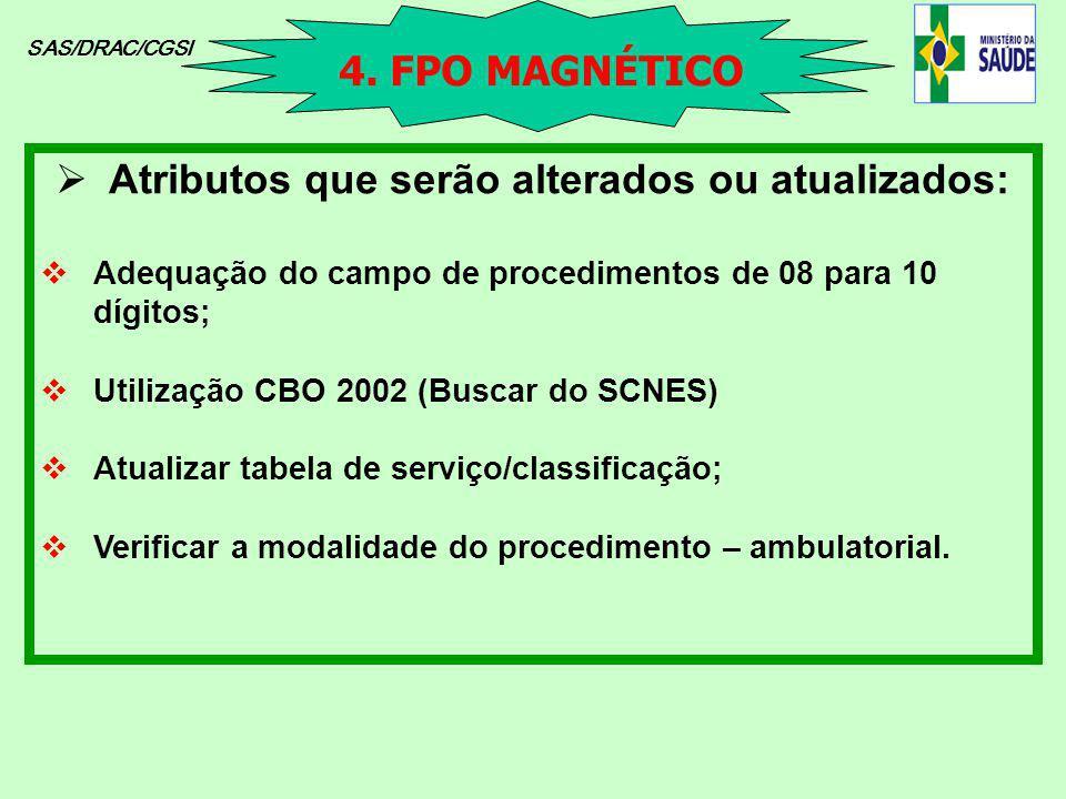 SAS/DRAC/CGSI Atributos que serão alterados ou atualizados: Adequação do campo de procedimentos de 08 para 10 dígitos; Utilização CBO 2002 (Buscar do