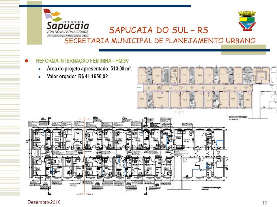 SAPUCAIA DO SUL – RS SECRETARIA MUNICIPAL DE PLANEJAMENTO URBANO Dezembro/2010 15 REFORMA INTERNAÇÃO FEMININA - HMGV Área do projeto apresentado: 513,
