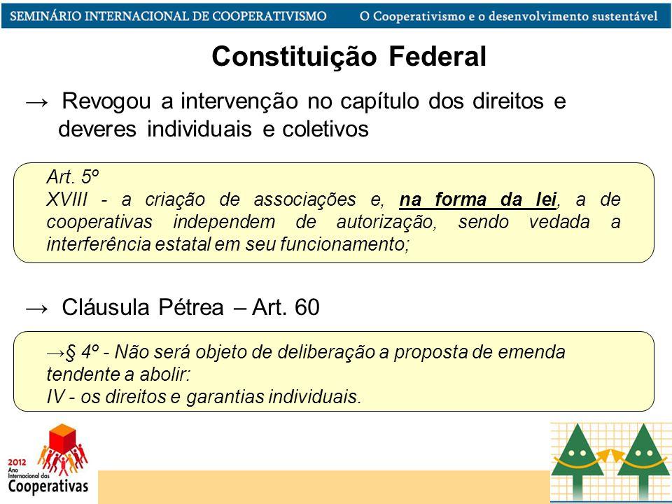 Art. 5º XVIII - a criação de associações e, na forma da lei, a de cooperativas independem de autorização, sendo vedada a interferência estatal em seu