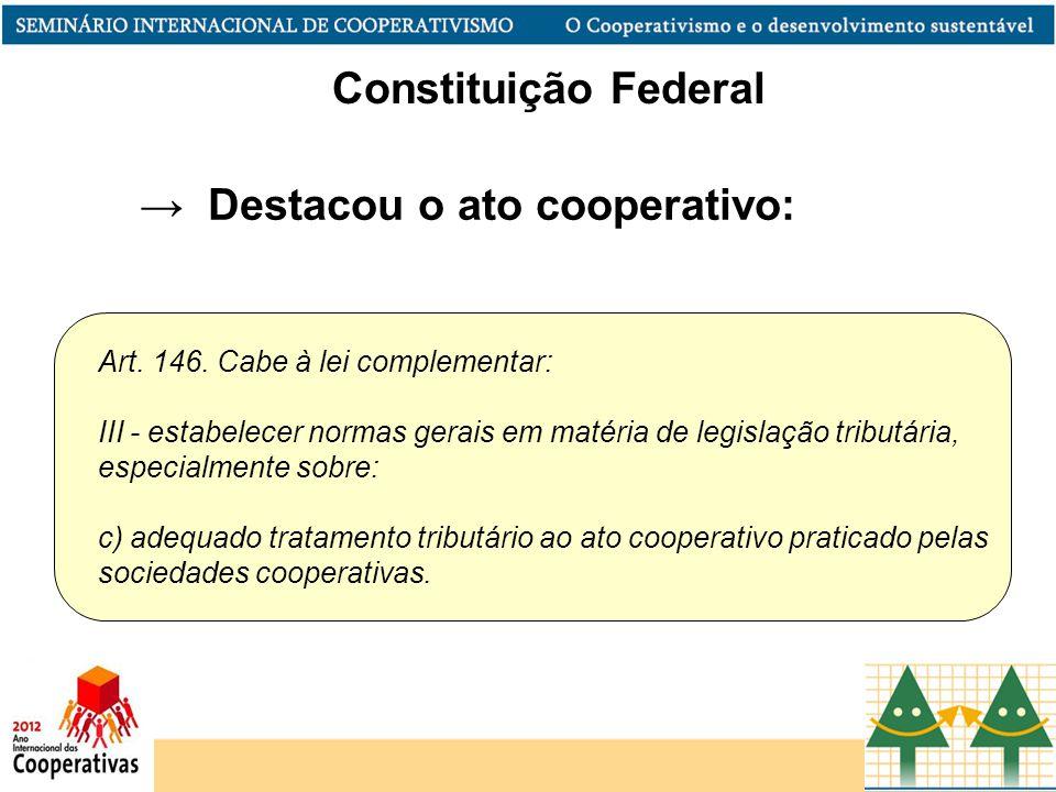 Art. 146. Cabe à lei complementar: III - estabelecer normas gerais em matéria de legislação tributária, especialmente sobre: c) adequado tratamento tr
