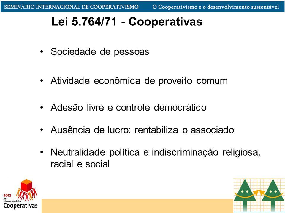 Atividade econômica de proveito comum Adesão livre e controle democrático Ausência de lucro: rentabiliza o associado Neutralidade política e indiscrim