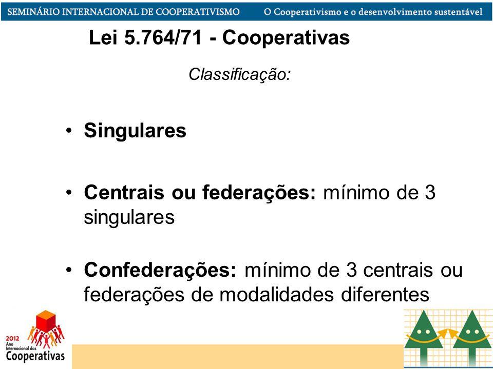Classificação: Centrais ou federações: mínimo de 3 singulares Confederações: mínimo de 3 centrais ou federações de modalidades diferentes Singulares Lei 5.764/71 - Cooperativas
