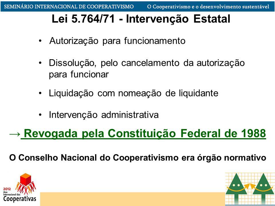 Dissolução, pelo cancelamento da autorização para funcionar Liquidação com nomeação de liquidante Intervenção administrativa O Conselho Nacional do Co