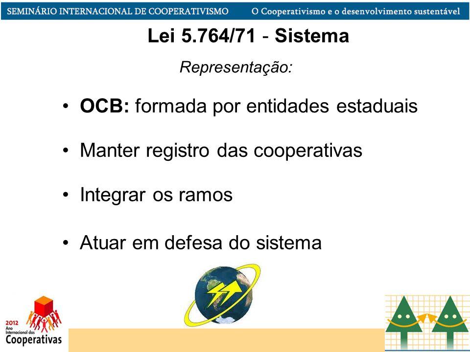 Representação: Manter registro das cooperativas Integrar os ramos Atuar em defesa do sistema Lei 5.764/71 - Sistema OCB: formada por entidades estadua