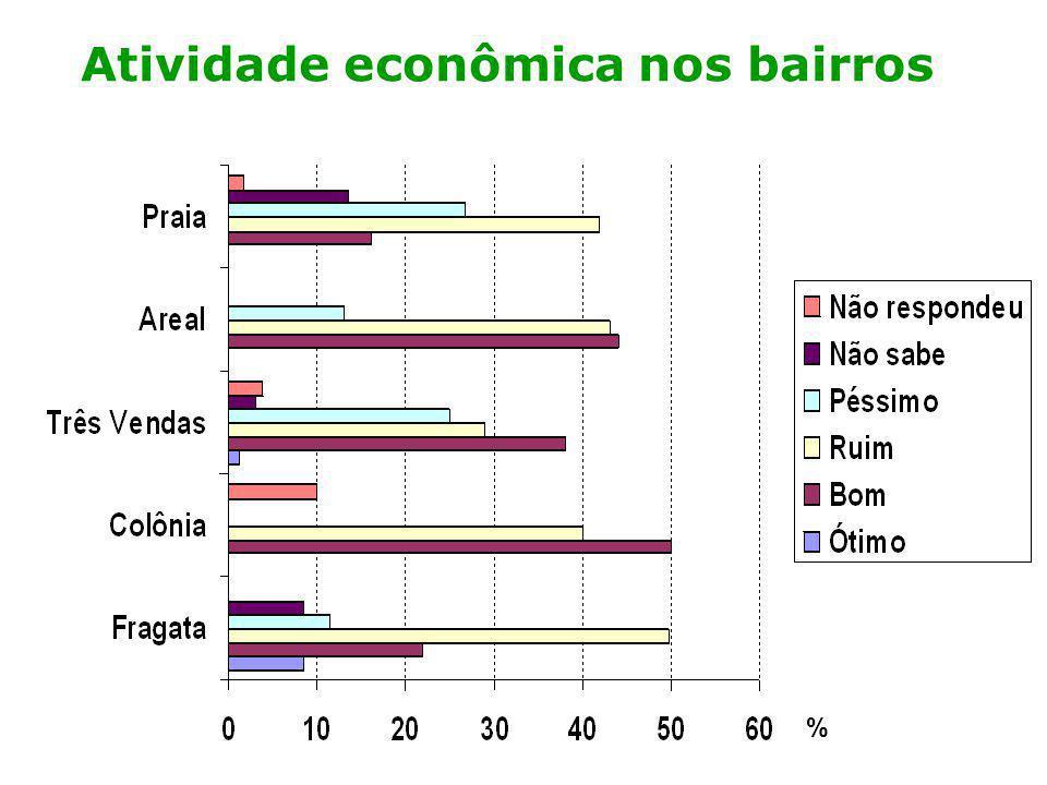 Análise preliminar: economia A maioria das pessoas tem percepção negativa do local onde vivem; A percepção mais positiva foi dos moradores da Colônia; A percepção mais negativa foi dos moradores do Gotuzzo, Hilda, Getúlio Vargas, Bom Jesus e Dunas;