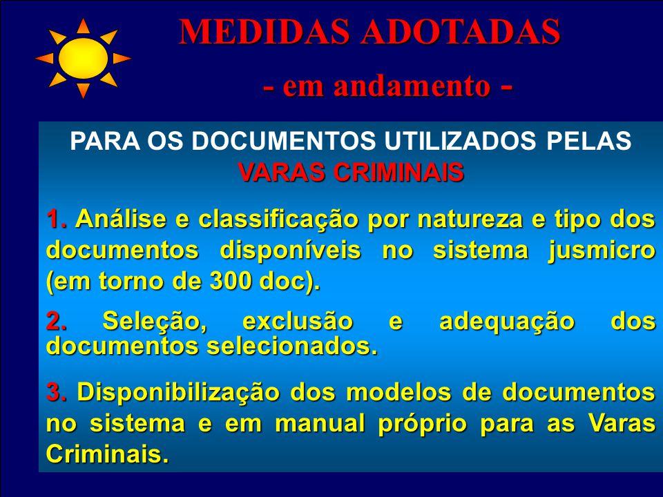 - em andamento - - em andamento - VARAS CRIMINAIS PARA OS DOCUMENTOS UTILIZADOS PELAS VARAS CRIMINAIS 1.