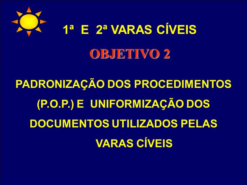 1ª E 2ª VARAS CÍVEIS OBJETIVO 2 PADRONIZAÇÃO DOS PROCEDIMENTOS (P.O.P.) E UNIFORMIZAÇÃO DOS DOCUMENTOS UTILIZADOS PELAS VARAS CÍVEIS