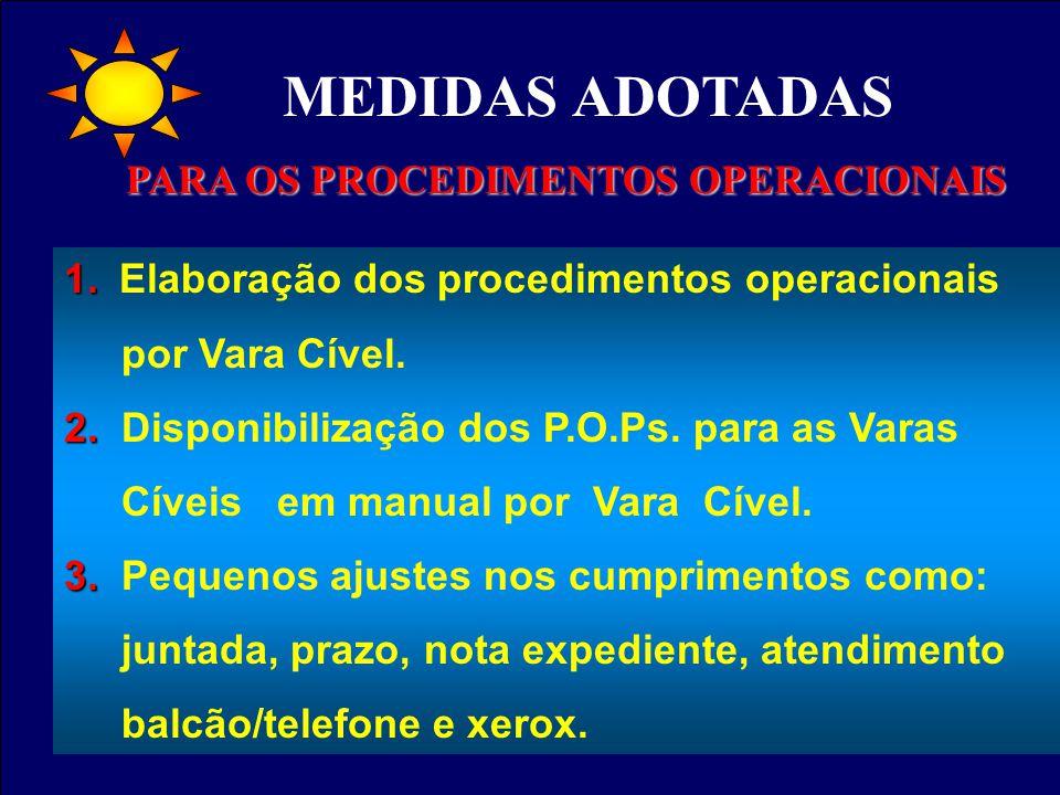 1. 1. Elaboração dos procedimentos operacionais por Vara Cível. 2. 2. Disponibilização dos P.O.Ps. para as Varas Cíveis em manual por Vara Cível. 3. 3