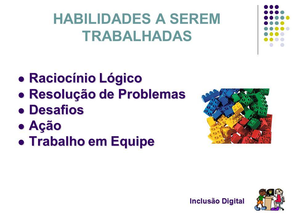 Inclusão Digital Inclusão Digital HABILIDADES A SEREM TRABALHADAS Raciocínio Lógico Raciocínio Lógico Resolução de Problemas Resolução de Problemas De