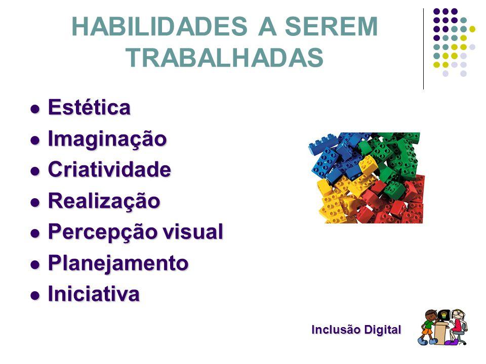 Inclusão Digital Inclusão Digital HABILIDADES A SEREM TRABALHADAS Estética Estética Imaginação Imaginação Criatividade Criatividade Realização Realiza