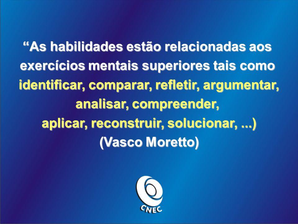 As habilidades estão relacionadas aos exercícios mentais superiores tais como identificar, comparar, refletir, argumentar, analisar, compreender, aplicar, reconstruir, solucionar,...) (Vasco Moretto)