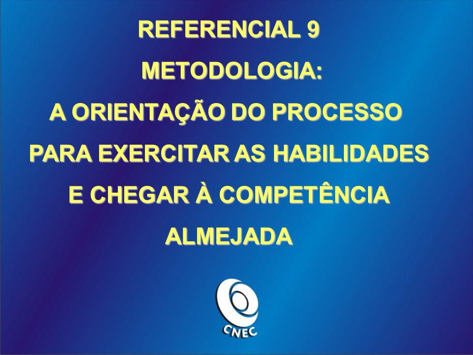 REFERENCIAL 9 METODOLOGIA: METODOLOGIA: A ORIENTAÇÃO DO PROCESSO PARA EXERCITAR AS HABILIDADES E CHEGAR À COMPETÊNCIA ALMEJADA