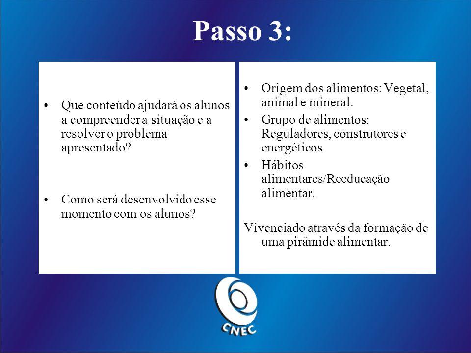 Passo 3: Que conteúdo ajudará os alunos a compreender a situação e a resolver o problema apresentado.