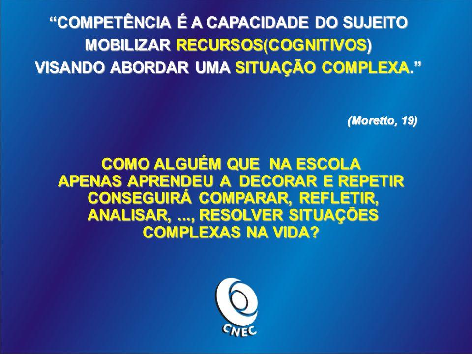 COMPETÊNCIA É A CAPACIDADE DO SUJEITO MOBILIZAR RECURSOS(COGNITIVOS) VISANDO ABORDAR UMA SITUAÇÃO COMPLEXA.